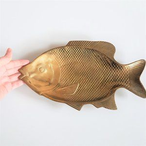 Large solid brass fish shape tray trinket dish